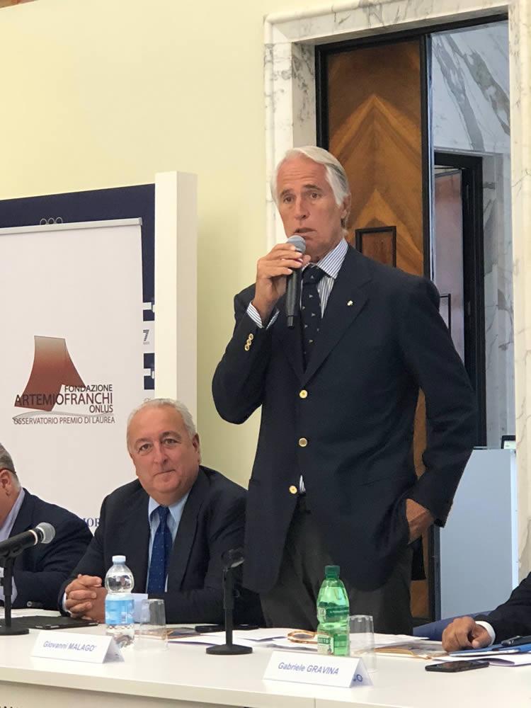 """Consegnato il """"XII Premio di Laurea Artemio Franchi""""  alla presenza del Presidente del CONI Giovanni Malago'"""
